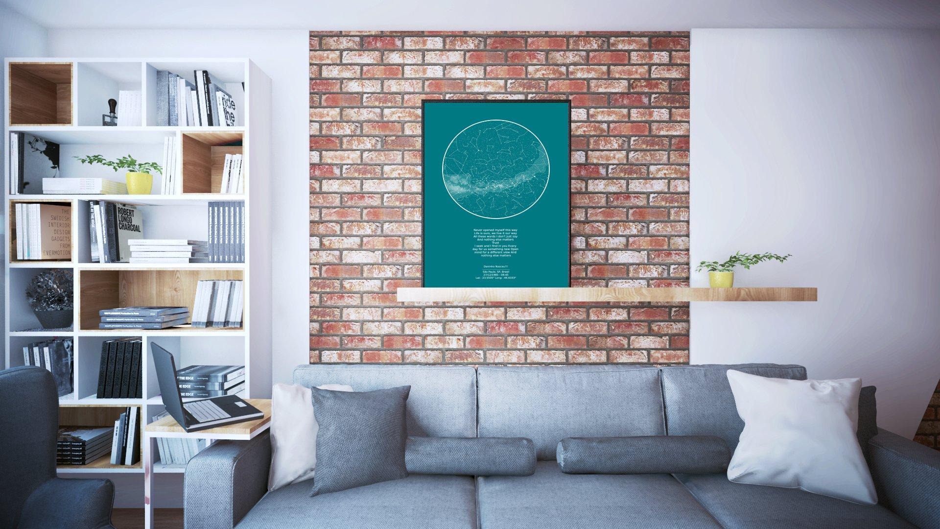 quadro verde do mapa do meu ceu em painel de sala de estar, acima do sofá