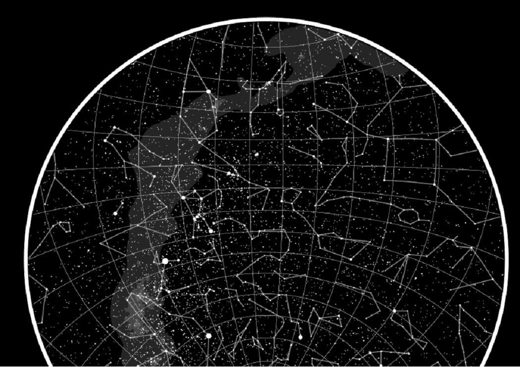 estrelas no ceu representadas no mapa do meu ceu